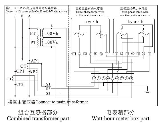 10.35高压电力计量箱单变比接线图