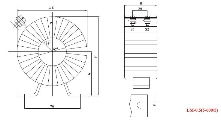 LM-0.5电流互感器外形尺寸