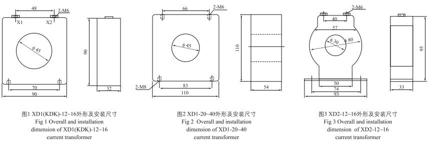 XD1,XD2(KDK)限流电抗器外形及安装尺寸