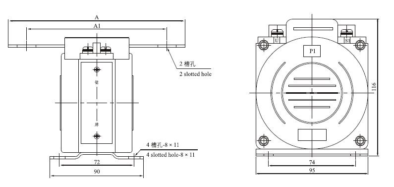 LQG-0.66电流互感器外形及安装尺寸图