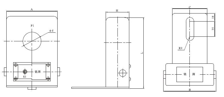 LMZ-0.5W户外电流互感器外形及安装尺寸图
