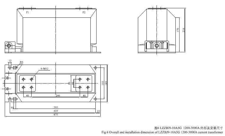 LZZBJ9-10(A,B,C,A5G)电流互感器外形尺寸
