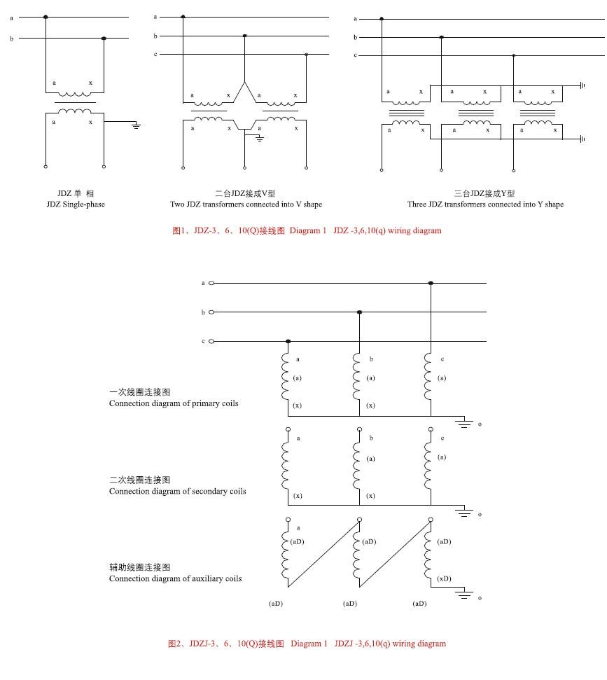 JDZ(J)-3、6、10(Q)电压互感器接线图