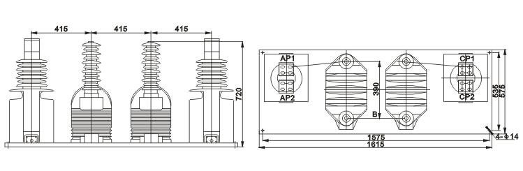 JLSZV-6、12、35W组合互感器外形尺寸